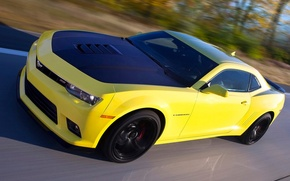 Picture road, yellow, speed, Chevrolet, Camaro, 1LE