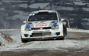 Picture Snow, Volkswagen, Red Bull, WRC, Rally, The front, Polo