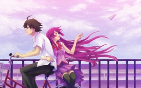 Wallpaper bike, shirt, paper airplane, male, girl, short hair, senjougahara hitagi, bakemonogatari, the wind, systems, araragi ...