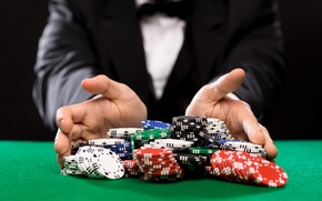 Picture casino, cards, costumes, game table, betting