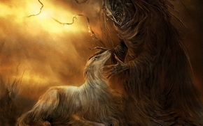 Picture figure, monster, dog