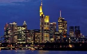 Picture bridge, river, skyscrapers, the evening, Germany, backlight, megapolis, Germany, Frankfurt am main, Frankfurt-am-Main