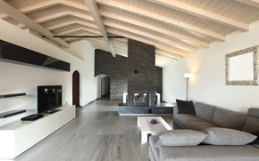 Picture design, style, grey, sofa, interior, pillow, mirror, TV, fireplace, table, living room