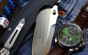 Picture watch, knife, folding, dice