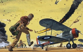 Picture the sky, figure, art, attack, pilot, the airfield, uniforms, dogfight, Marines, WW2, fighter biplane, DFS …