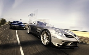 Wallpaper rendering, Audi, SLR, Mercedes, Benz