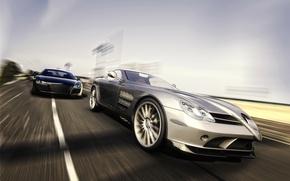 Wallpaper rendering, Benz, Audi, SLR, Mercedes