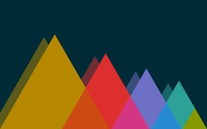 Picture Mountains, Color, Color, Mountains, The dark background, Triangles