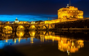Picture night, bridge, lights, river, Rome, lights, Italy, fortress