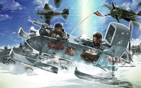 Picture dogs, snow, girls, art, aircraft, tanks, girls and panzer, the military campaign, r-ex