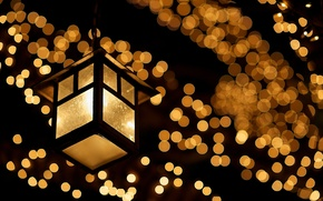 Picture glass, macro, light, night, lights, lamp, the evening, yellow, lantern, garland, bokeh