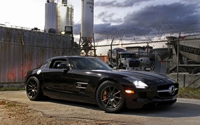 Picture black, shadow, the fence, black, front view, Mercedes benz, sls amg, headlights, Mercedes Benz, SLS …