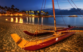 Picture sea, the sky, night, lights, palm trees, shore, boat, hdr