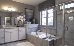 Picture flowers, design, picture, mirror, shower, bath, bathroom