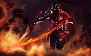Picture fire, sword, warrior, art, male, League of Legends, Yasuo