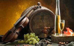 Wallpaper sheet, wine, white, violin, glass, grapes, nuts, barrel, corkscrew, tablecloth