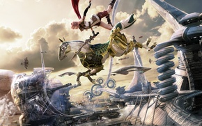 Wallpaper Soldier Army Cocoon, Lightning, Final Fantasy XIII, Final Fantasy 13, Lightning, Blaze Edge, Aerial city ...