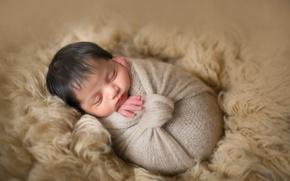 Wallpaper sleep, scarf, fur, child, baby