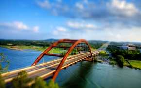 Wallpaper road, bridge, tilt shift