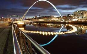 Picture the city, lights, building, road, bridges