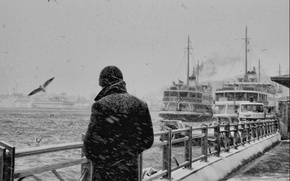 Picture sadness, sea, snow, reverie, memories, loneliness, thoughts, the fence, seagulls, black and white, ships, port, …