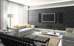 Picture white, table, grey, room, sofa, black, interior, TV, kaloki