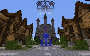 Picture the sky, tile, home, area, tower, fountain, the bushes, Palace, Minecraft