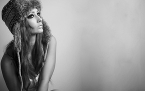 Picture sexy, woman, fur hat