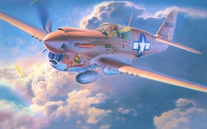 Picture aircraft, war, art, airplane, aviation, usaf, ww2, dogfight, p-40