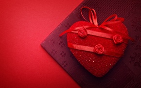 Wallpaper red, background, holiday, red, heart, fabric, heart, Valentine's day, ribbons