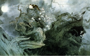 Wallpaper flowers, art, fog, Zou ChuanAn, tree, birds, the moon, figure, night, characters, Chinese painting, branches