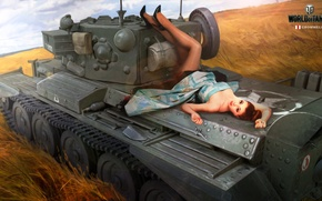 Wallpaper Nikita Bolyakov, art, average, World of Tanks, figure, girl, tank, Cromwell, field, ears, British