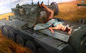 Wallpaper field, girl, figure, art, tank, ears, British, average, World of Tanks, Cromwell, Nikita Bolyakov