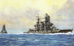 Picture ship, art, Navy, military, battleship, Japanese, battleship, WW2, IJN, Kongo