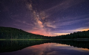 Picture forest, stars, night, lake, the milky way