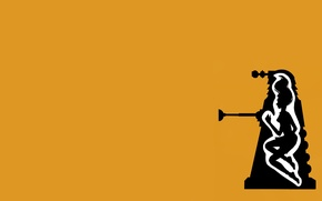 Picture girl, silhouette, Doctor Who, yellow background, Doctor Who, Dalek, Far