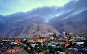 Picture storm, the city, the evening, hurricane, sandstorm