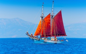 Picture sea, ship, sailboat, red sails