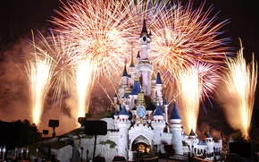 Picture Disneyland, France, France, fireworks, Paris, Night, castle, Paris, Cinderella castle, castle, Disneyland