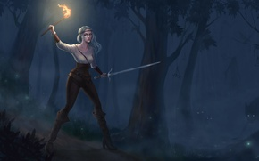Picture forest, look, girl, night, animals, fire, art, torch, green eyes, Witcher 3: Wild Hunt, Cirilla