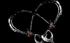 Picture heart, glasses, cherry