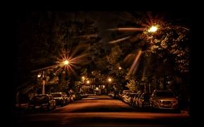 Picture machine, night, street, lights