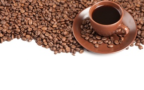 Picture coffee, Cup, coffee beans, saucer