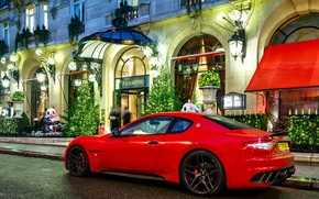 Picture night, red, people, Maserati, the building, red, night, Maserati, granturismo, building, novitec