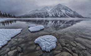 Picture winter, snow, mountains, lake, stones, haze