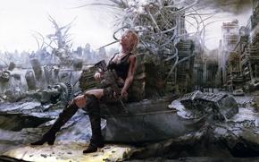 Wallpaper fiction, Aya Brea, Parasite Eve, ruins, machine