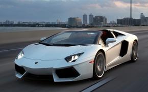 Picture road, the sky, white, roadster, LP700-4, Lamborghini Aventador
