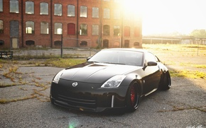 Picture nissan, wheels, 350z, black, japan, jdm, tuning, front, custom, face, low, nismo, stance, datsun, Fairlady …