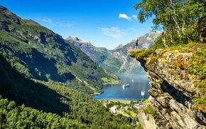 Wallpaper girl, mountains, rock, Norway, panorama, Norway, the fjord, Ålesund, Geiranger, Geiranger, Geirangerfjord