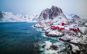 Picture winter, snow, Norway, town, settlement, February, archipelago, The Lofoten Islands, fylke Nordland, the municipality of ...